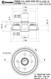 Bremstrommel BREMBO (14.A152.10), DAIHATSU, Cuore V, Move, Cuore VI