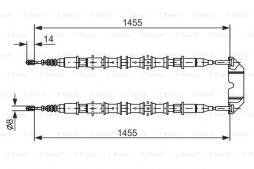 Seilzug, Feststellbremse BOSCH (1 987 477 391), OPEL, Vectra B CC, Vectra B Caravan, Vectra B