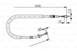 Seilzug, Feststellbremse BOSCH (1 987 477 857), MERCEDES-BENZ, Sprinter 4-T Bus, Sprinter 3-T Bus, Sprinter 2-T Bus