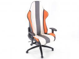 FK Sportsitz Bürodrehstuhl Denver weiß/grau/orange Chefsessel Drehstuhl Bürostuhl