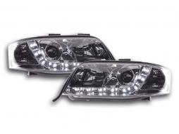 Scheinwerfer Set Daylight LED TFL-Optik Audi A6 Typ 4B  01-04 chrom