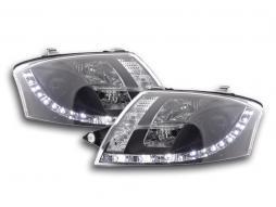 Scheinwerfer Set gebraucht Daylight LED TFL-Optik Audi TT Typ 8N Bj. 99-06 schwarz für Rechtslenker