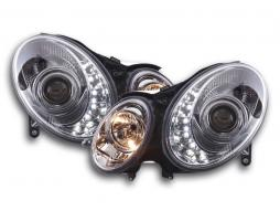 Scheinwerfer Set Daylight LED TFL-Optik Mercedes E-Klasse 211 Bj. 02-06 chrom