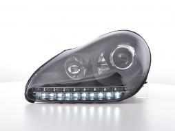Scheinwerfer Set gebraucht Daylight LED TFL-Optik Porsche Cayenne Bj. 03-07 schwarz