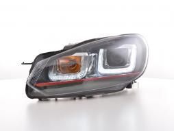 Scheinwerfer Set Daylight LED Tagfahrlicht VW Golf 6 Bj. 08-12 schwarz GTI-Look