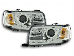 Scheinwerfer Set Daylight LED TFL-Optik Audi 80 Typ B4 Bj. 91-94 chrom
