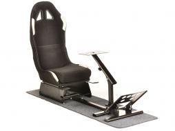 FK Gamesitz Spielsitz Rennsimulator eGaming Seats Suzuka schwarz/weiß mit Teppich