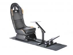 FK Gamesitz Spielsitz Rennsimulator eGaming Seats Suzuka schwarz/gold Carbonlook mit Teppich