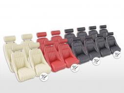 FK Oldtimersitze Auto Vollschalensitze Set Montgomery mit Kopfstütze [verschiedene Farben] mit und ohne Laufschienen